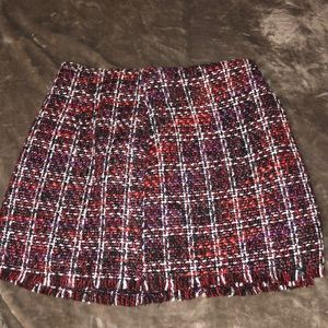 knit checker skirt with fringe